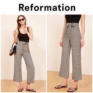 "Reformation ""Saylor"" wide leg crop pants 8"